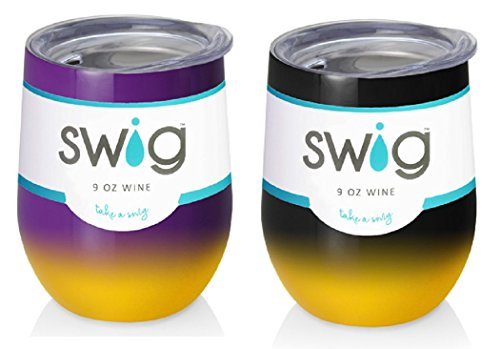 Occasionally Made O-SW-9-BK Swig Wine Cup, 12 oz (Purple Yellow and Black -