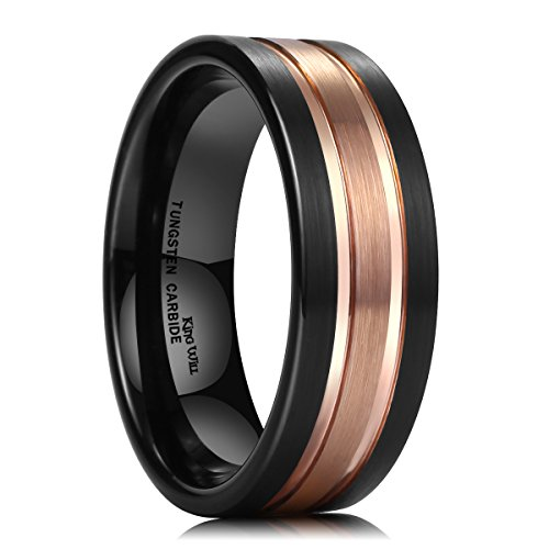 - King Will Duo 8mm Tungsten Carbide Ring Two-Tone Black Rose Gold Plated Brushed Finish Comfort Fit(10.5)