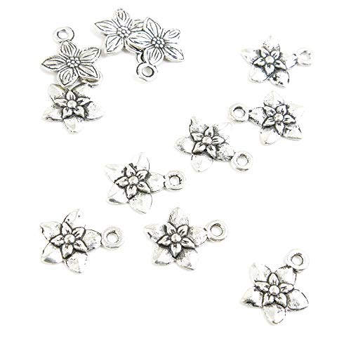 820 Pieces Antique Silver Tone Jewelry Making Charms Crafting Beading Craft H8ZU7 Cherry Blossom ()
