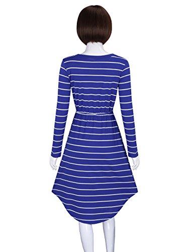 Encolure Ras Du Cou Taille Élastique Rayée Décontractée Femmes Adamaris Manches Longues Robes Midi Bleu