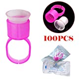 100pcs Eyebrow Tattoo Ink Ring Microblading Pigment Glue Ink Rings with Sponge Cups Caps Permanent Makeup Tattoo Eyelash Extension Glue Holder Microblading Supplies Eyebrow Tattoo Tools (Pink)