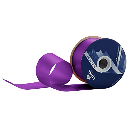 Purple Poly Satin Waterproof Ribbon 2.75' (#40) For Floral & Craft Decoration, 100 Yard Roll (300 FT Spool) Bulk, By Royal Imports (MADE IN ITALY )