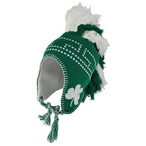 Armycrew Mohawk Irish Aviator Knit Ski Winter Beanie Hat with Braids - Green