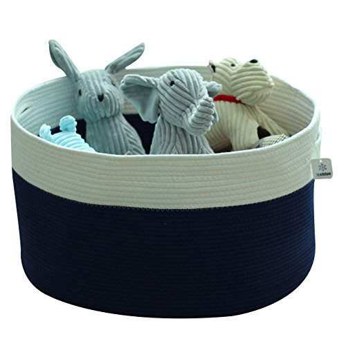 ICEBLUE HD Extra Extra Extra Large Storage Basket Oval Shaped Toy Organizer Blue Basket Kids Storage Organizer Fabric Storage Bin