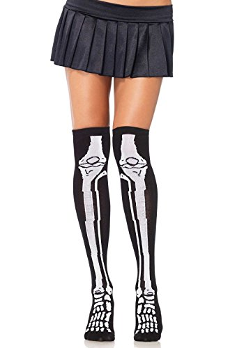Sans Undertale Costume (Leg Avenue Women's Acrylic Skeleton Over The Knee Socks, Black/White, One Size)