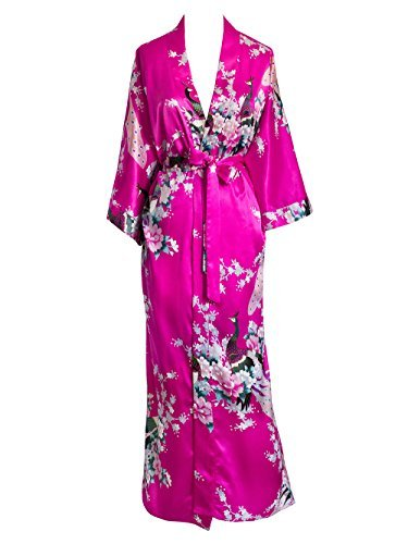 Cotton Exclusive Satin - Old Shanghai Women's Kimono Long Robe - Peacock & Blossoms (Fuchsia (on seam pocket))