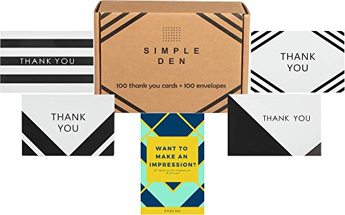 Simple Den Thank You Card Set | 100 Count Bulk Assorted Cards with Envelopes | BONUS Thank You Note Templates | Perfect for Weddings, Bridal Showers, Baby Showers & Business Use ()