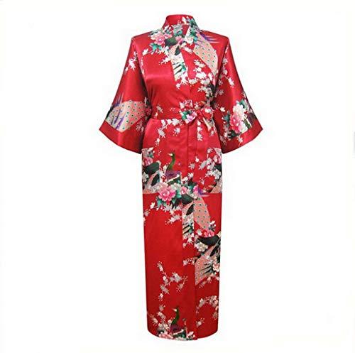 Silk Robe Kimono, Pajamas Women Silk Rayon Long Robes Kimono Bath Gown Women Sexy Nightgown Floral Sleepwear Plus Size 3X