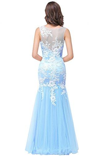Rosa Babyonline® Brautjunfernkleider Lace Applikation Ohne Masche Blau Ballkleid Lang Abendkleider Arm Damen Mit Himmel Meerjungfrau qrFvEr