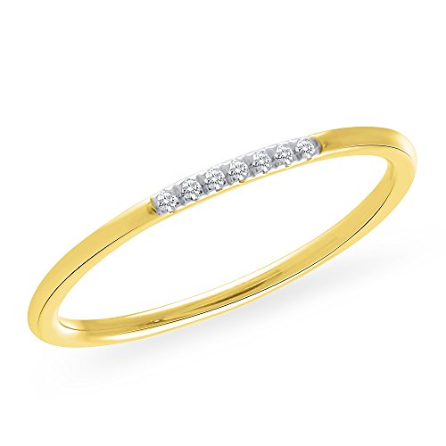 0.05 CT. Seven-Stone Round Natural Diamond Wedding Band 10K Yellow Gold For Women 0.05 Ct Single