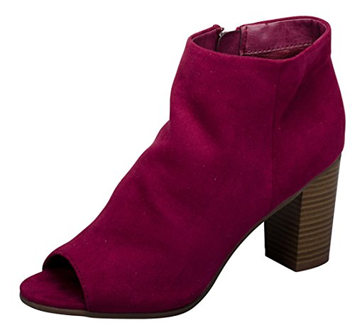 Toe Breckelle's Heel Chunky Berry Bootie Stacked Peep Women's rvqXRr
