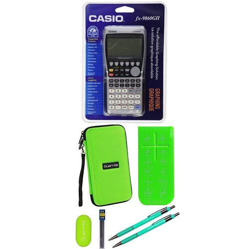 Casio FX-9860 Graphing Calculator With Travel Case And Essential Graphing Accessory Bundle, Green
