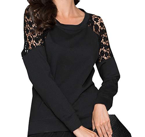Col Longues T Shirts et Hauts Tops Blouse Printemps Noir Automne Pulls Femmes Tees Jumpers Manches Dentelle Rond Fashion pissure zwWwPOq6F