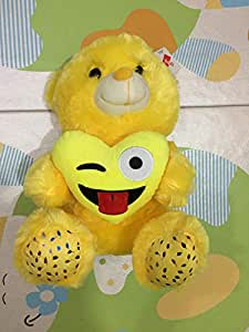 Large Emoji Teddy bear toy with yellow heart
