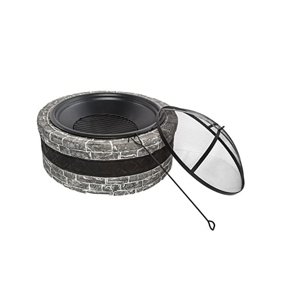 """Sun Joe SJFP28-STN-CS  Fire Joe 28"""" Charcoal Gray Fire Pit - Ideal outdoor centerpiece for warmth and enjoyment Durable cast stone base adds a sophisticated touch to any outdoor décor Large 28 in. (73.8 cm) fire bowl accommodates hardwood logs up to 21.5 in. (54.6 cm) long - patio, outdoor-decor, fire-pits-outdoor-fireplaces - 41D FJTG8NL. SS570  -"""