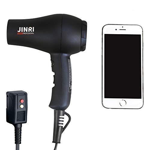 Jinri 1000W Mini Travel Hair Dryer,Full-Size Compact Lightweight Hairdryers,Cool Shot,2 Heat/Speed buttons,Ionic Technology to reduce Frizz,Static Hair Dryers,also Suitable for Kids,Black ()
