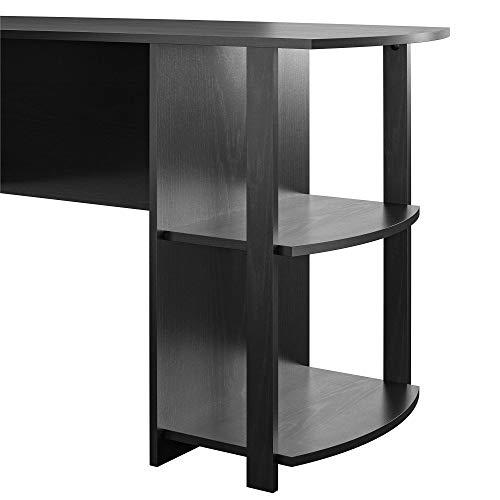 AmazonBasics Classic L-Shaped Desk with Open Bookshelves, Black, BIFMA Certified