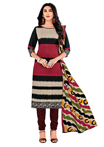 Miraan Women Cotton Unstitched Dress Material (SAN1422, Multi, Free Size)