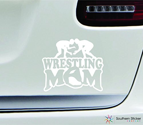 Wrestling mom player 3.9x4.5 white family grappling uniform sport combat united states america color sticker state decal vinyl - Made and Shipped in USA