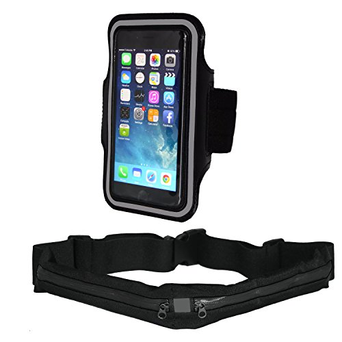 Running Belt and Armband for iPhone 8, 7 6 6S, 5, 5S, Samsung Galaxy S9 S8 S7 S6 S5 S4, HTC One & More