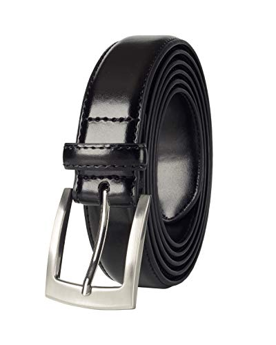 Belts for Men Mens Belt Buckle Genuine Leather Stitched Uniform Dress Belt - Black (38)