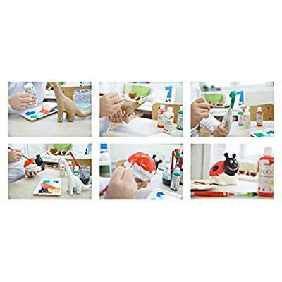 Kreul Mucki 24160 Brilliant Water-Based Craft Paint Paraben Free Gluten Free Lactose Free Vegan Washable with Brush 6 x 80 ml White Yellow Red Blue Green and Black: Toys & Games