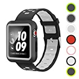 Pantheon Silicone Band Compatible with Apple Watch - with Bumper Case - Waterproof Sport Strap - 42mm / 44mm iWatch Sports Bands for Women or Men Apple Watch Series 4 3 2 1