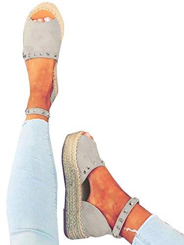 72bc7e212cd Women s Ankle Wrap Espadrille Flatform D orsay Open Toe Slip on Summer  Sandal Shoes