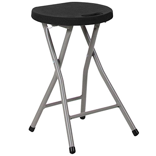 Flash Furniture Foldable Stool with Black Plastic Seat and Titanium Frame by Flash Furniture