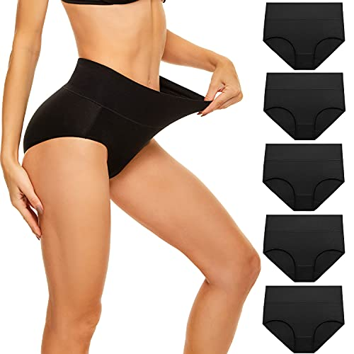 cassney Women's High Waisted Underwear Ladies Stretch Cotton Panties Full Coverage Briefs 5 Pack (Black-5 pack, Small)