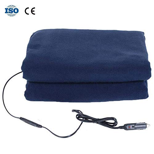 Missbee Car Electric Blanket, 12V Car Heating Blanket Constant Temperature Heating Blanket with Premium Cigarette Lighter Plug for Automobile for Autumn and Winter Navy Blue 59