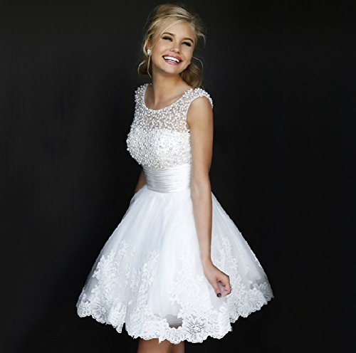 wt48 short WHITE BEADING Wedding Birde dress chiffon full length prom gown size 12: Amazon.co.uk: Clothing
