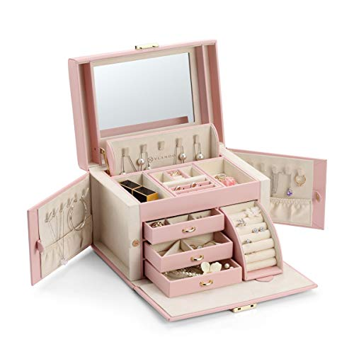 Vlando Lockable Jewelry Box Organizers with Key, Small Travel Earrings and Rings Jewelry Box on Top Included, Vintage Gift Case Packing for Ladies Women, Pink from Vlando
