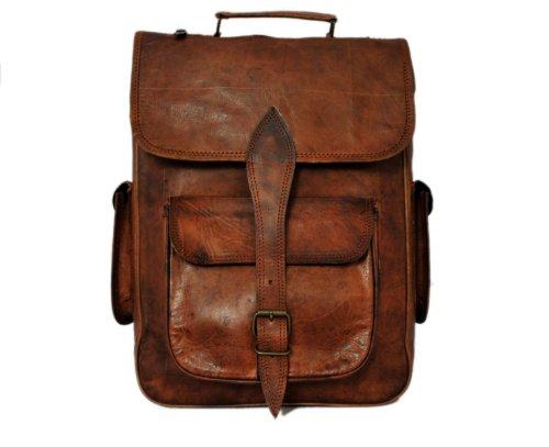 Genuine Leather Laptop Backpack Rucksack for College School gift ideas men - Belt Vintage Cognac
