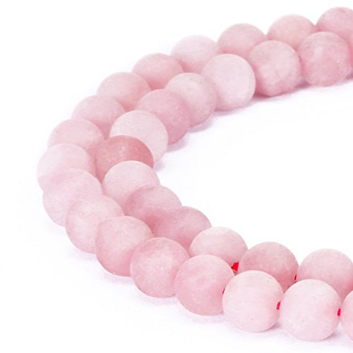 (jennysun2010 Natural Matte Frosted Rose Quartz Gemstone 6mm Round Loose 60pcs Beads 1 Strand for Bracelet Necklace Earrings Jewelry Making Crafts Design Healing)