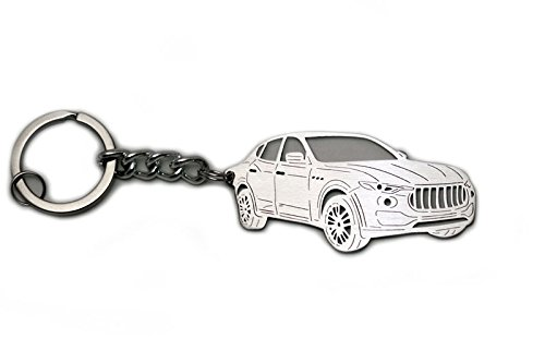 Stainless Steel Keychain suitable for Maserati Levante 2016- Laser Cut Key Chain with Ring Car Body Profile Design 3D - Usps International Shipping Economy