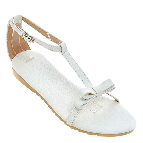 Carolbar Womens T-Strap Bows Buckle Casual Sweet Flats Sandals White tRetdRLr