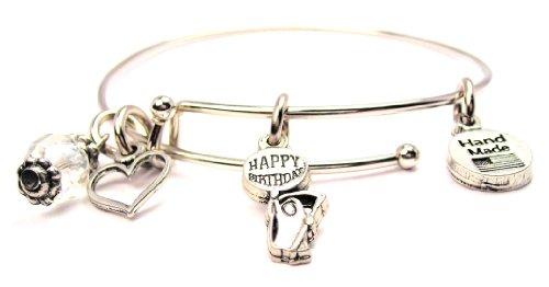 Happy Birthday Adjustable Wire Bangle Charm Bracelet Single Stacker