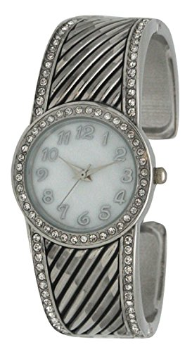 Western Style Ladies Metal Bangle/Cuff Watch with Detailed Western Design with Rhinestones on Bezel and Bracelet (Silver)