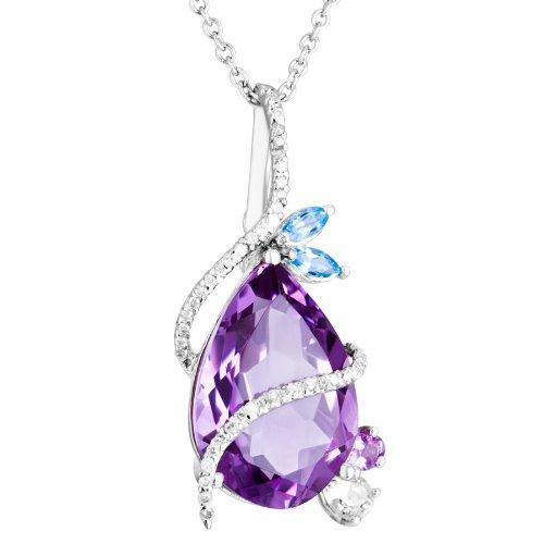 &-Diamant-Topaze bleue-Améthyste-Pendentif poire or blanc 18 carats