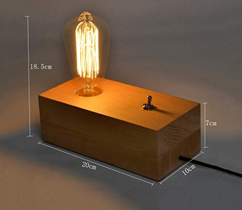 ChuanHan Retro Table Lamp, Nordic American Village Bedroom Bedside Lamp Camphor Wood Arts Power Switch Button Long 20Cm Energy Saving and Environmental Protection Modern, 1 ()