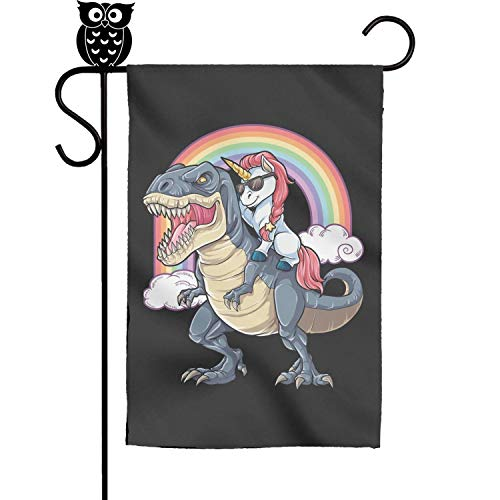 - ZhongQi Unicorn Riding Dinosaur T-Rex Garden Flags Outdoor Flags 12x18 Inch