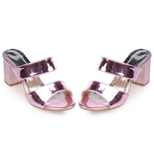 COOLCEPT Damen Mules Heels Sandalen ohne Verschluss Light Purple