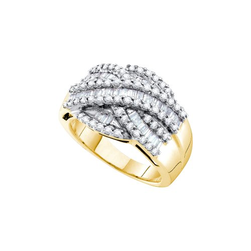 Size 12.5 - 14K Yellow Gold Large Diamond Cross Over Wedding , Anniversary OR Fashion Right Hand Ring Band - w/ Channel Invisible Set Round & Baguette Diamonds - (1.06 (14k Yellow Gold Crossover)