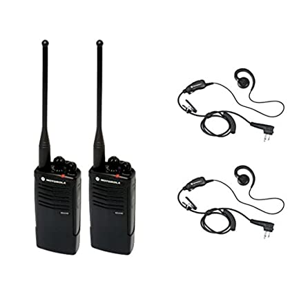 Image of 2 Pack of Motorola RDU4100 Radios with 2 Push To Talk (PTT) earpieces. CB & Two-Way Radios