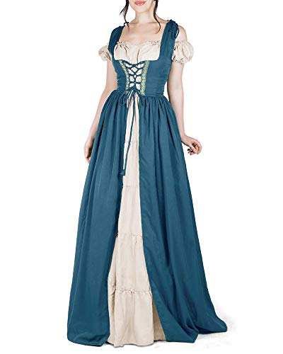 NIUBIA Womens Victorian Renaissance Costumes Cosplay Dress Cold Shoulder Lace Up Gothic Irish Over Medieval Retro Gown