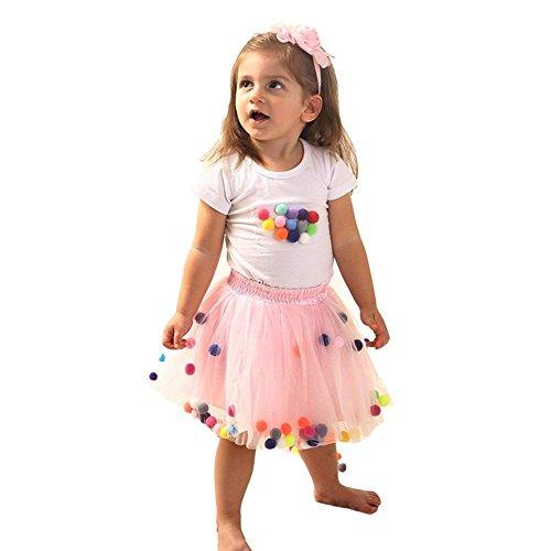 BIZAR Toddler Baby Girls Tutu Skirt Set 4-Layer Fluffy and T-Shirt with Pom Pom Puff Ball Set ()
