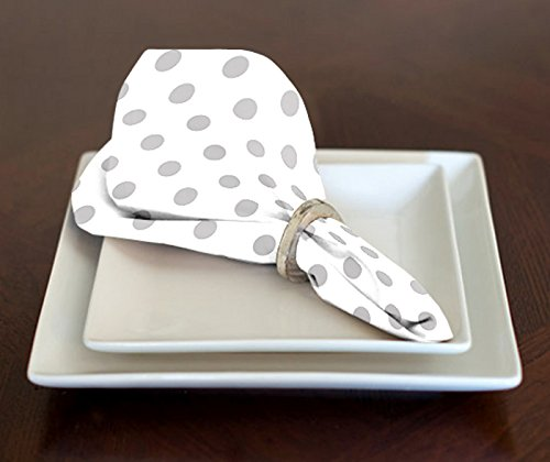 A LuxeHome White and Grey Modern Contemporary Polka Dot Lunch Dinner Napkins 17