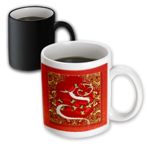 Gold Chinese White Snake (3dRose Chinese Zodiac Year Snake, Chinese New Year Red, Gold Black, Magic Transforming Mug, 11-Ounce)