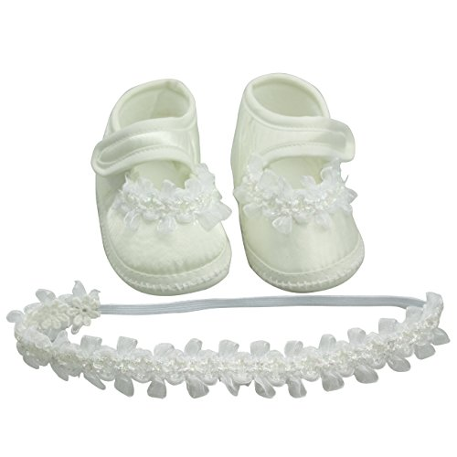Nihao Baby Newborn Girls Shoes White White Crib Shoes Infant Christening Lace Headbands (3.94 inches, Off-White Shoes) by Nihao Baby